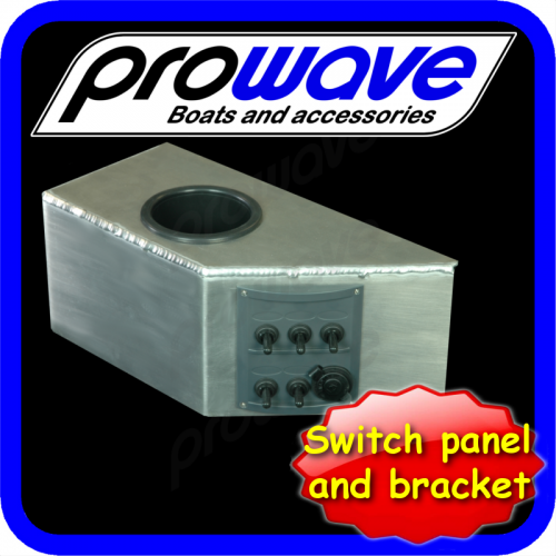 Switch panel, 5 way with 12 volt socket and alloy bkt, cup 01