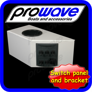 Switch panel, 5 way with 12 volt socket and alloy bkt, cup painted 01