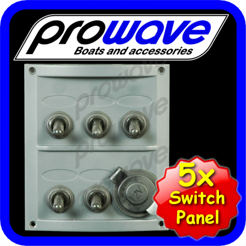 Switch panel, 5 way with 12volt socket 01